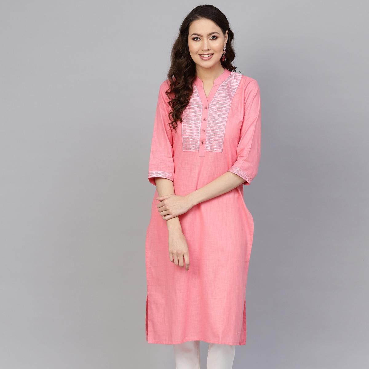Dazzling Pink Colored Casual Wear Embroidered Cotton Kurti