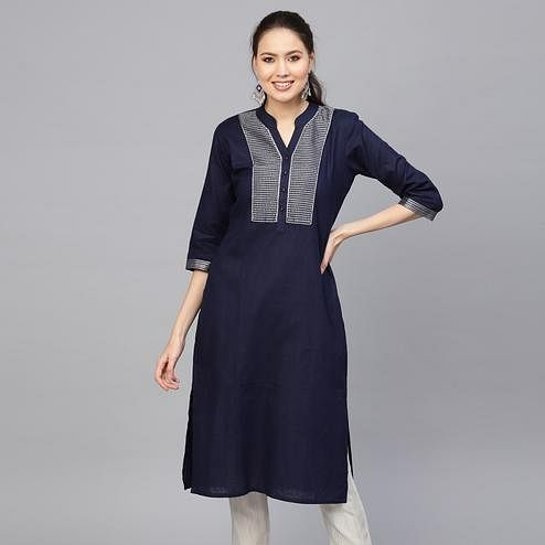 Surpassing Navy Blue Colored Casual Wear Embroidered Cotton Kurti