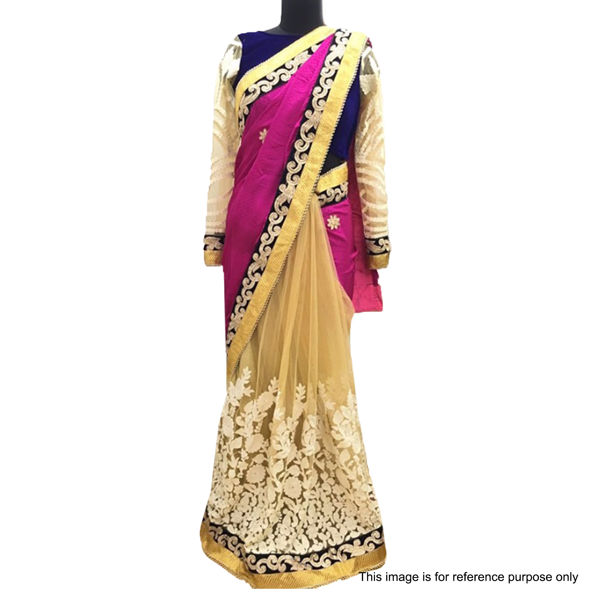 Magenta - Beige Party Wear Half Saree