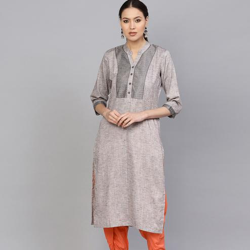 Flaunt Grey Colored Casual Wear Embroidered Cotton Kurti