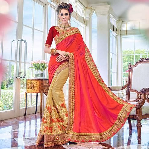 Pleasant Beige-Pink Colored Partywear Embroidered Georgette Half-Half Saree