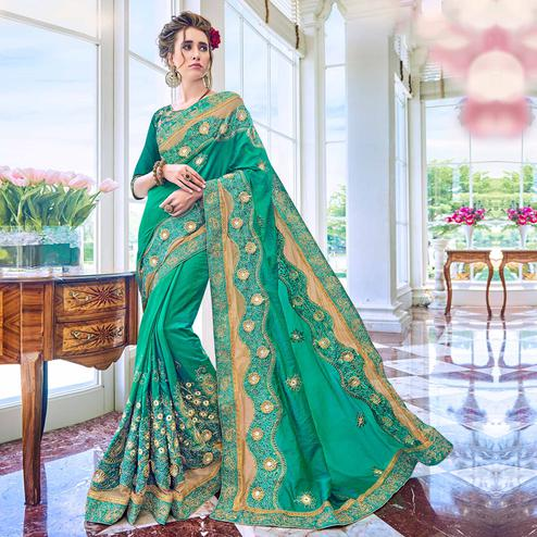 Opulent Turquoise Green Colored Partywear Embroidered Art Silk Saree