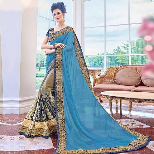 Energetic Beige-Blue Colored Partywear Embroidered Satin-Georgette Half-Half Saree