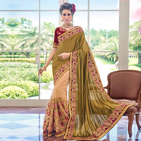 Glowing Cream-Green Colored Partywear Embroidered Net Half-Half Saree