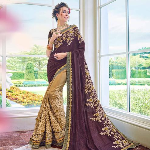 Exceptional Beige-Purple Colored Partywear Embroidered Satin-Georgette Half-Half Saree