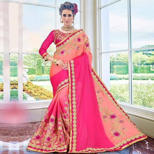 Gleaming Pink Colored Partywear Embroidered Georgette Saree