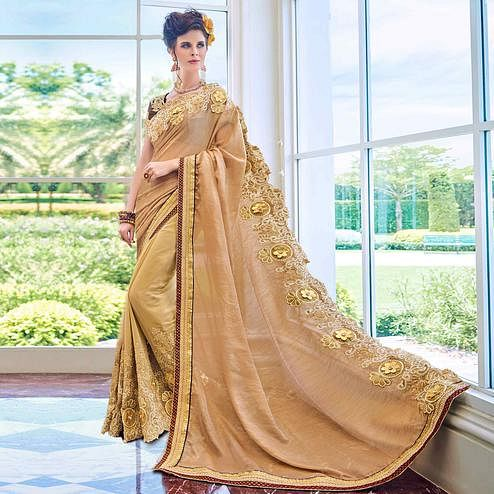 Unique Golden Colored Partywear Embroidered Satin-Georgette Half-Half Saree