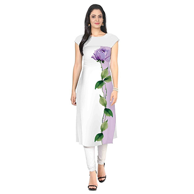 Ziyaa White Casual Wear Printed Crepe Kurti