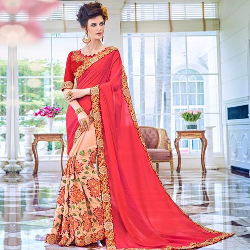 Refreshing Peach-Red Colored Partywear Embroidered Art Silk-Georgette Half-Half Saree