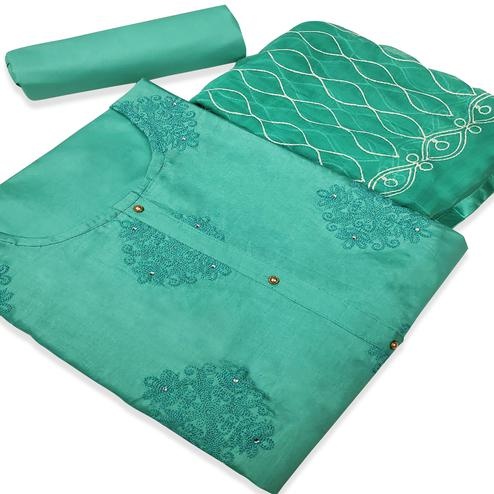 Magnetic Turquoise Green Colored Partywear Embroidered Cotton Silk Dress Material