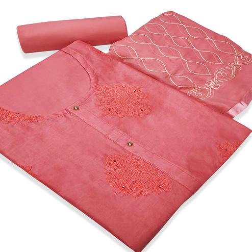 Hypnotic Pink Colored Partywear Embroidered Cotton Silk Dress Material