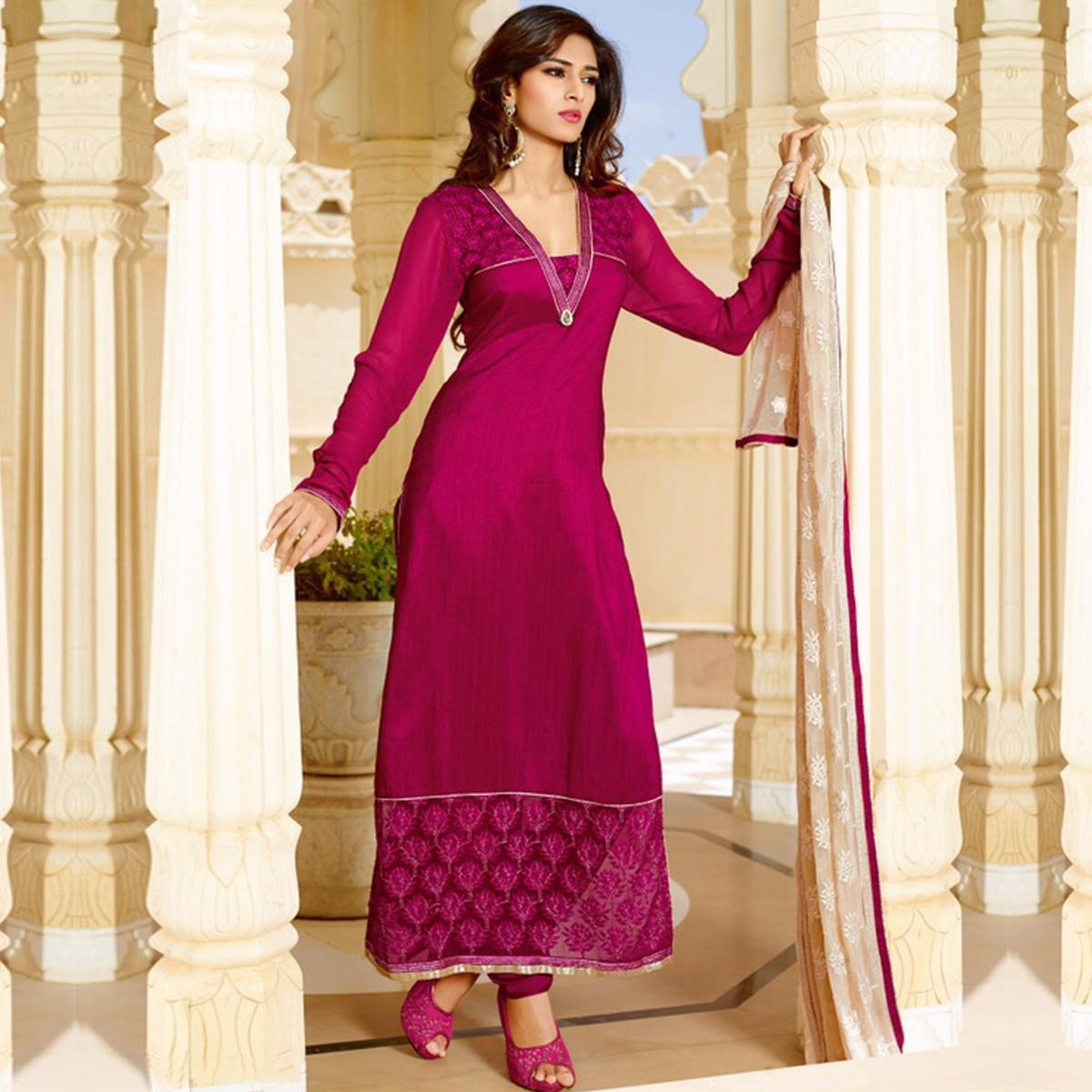 Hot Pink Ankle Length Straight Suit