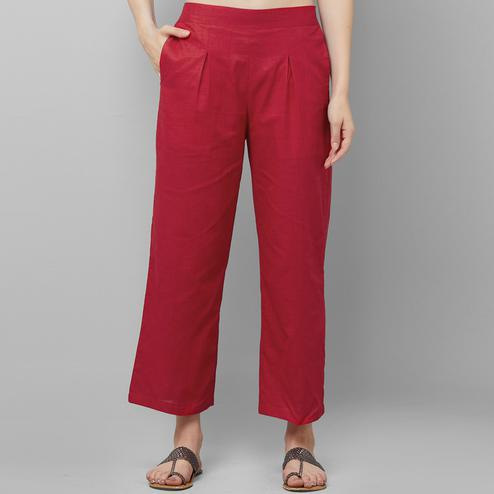 Captivating Red Colored Casual Wear Cotton Palazzo