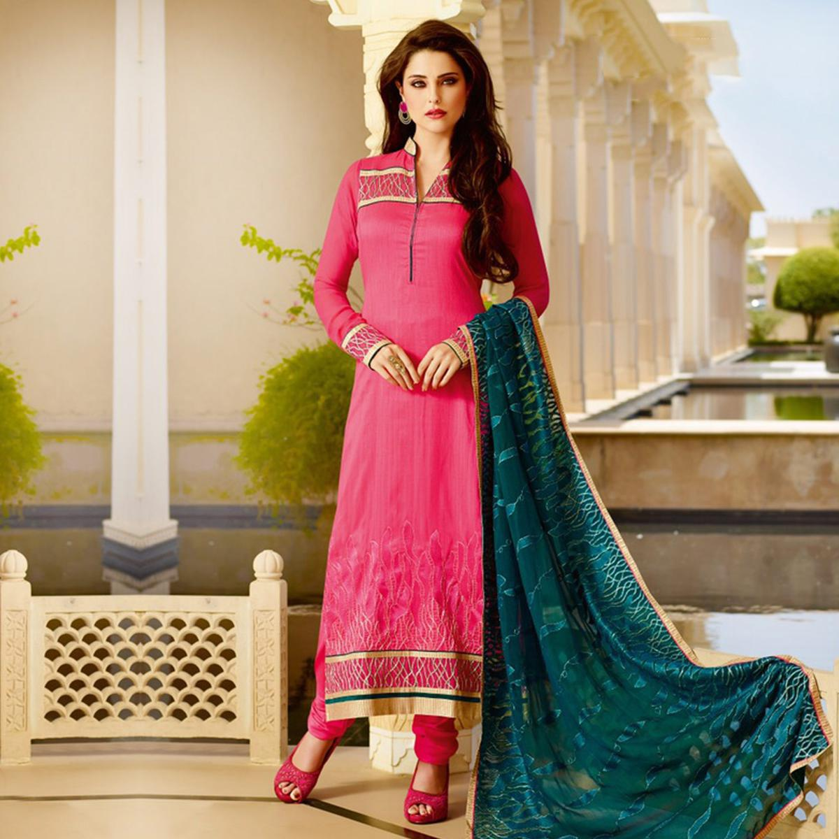 Pink - Bottle Green Georgette Churidar Suit