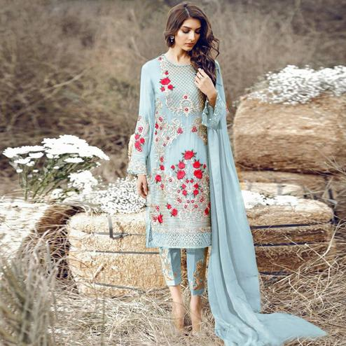 Classy Light Blue Colored Party Wear Embroidered Pant Style Suit