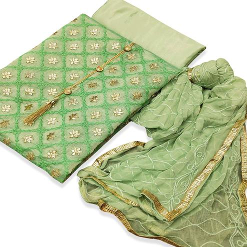 Marvellous Green Colored Partywear Embroidered Chanderi Silk Dress Material