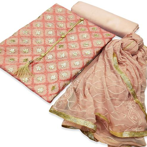 Flamboyant Pink Colored Partywear Embroidered Chanderi Silk Dress Material