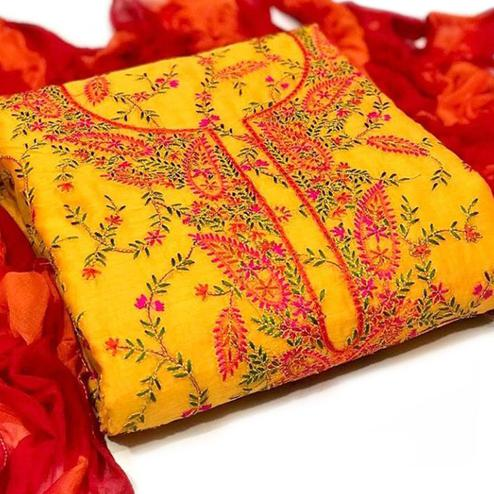 Stunning Yellow Colored Partywear Embroidered Chanderi Silk Dress Material