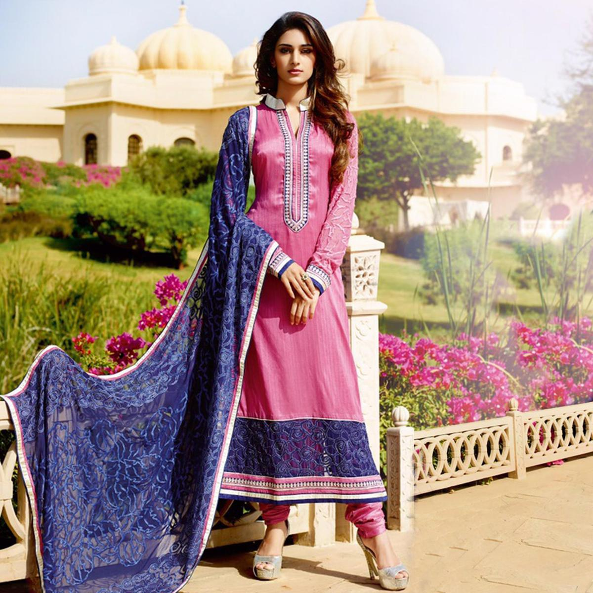 Light Pink Embroidered Georgette Designer Suit