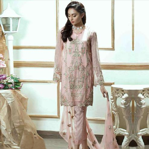 Arresting Light Pink Colored Partywear Embroidered Georgette Suit