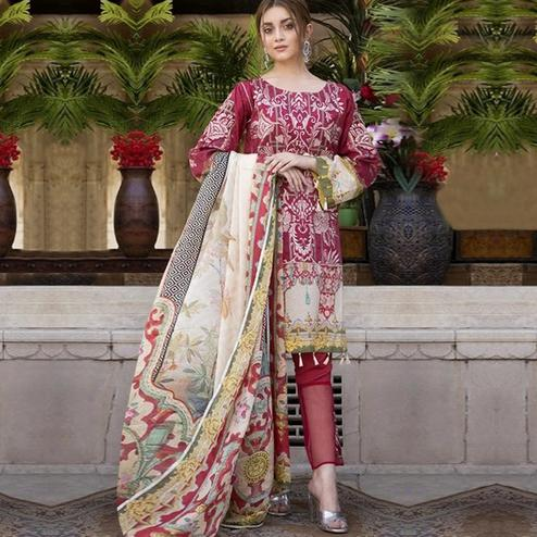 Desirable Maroon Colored Partywear Embroidered Cotton Suit
