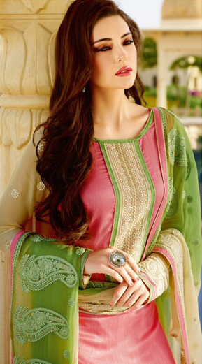 Pink - Beige Embroidered Palazzo Suit