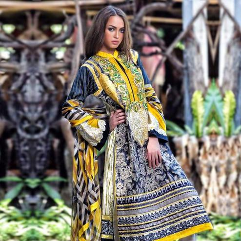 Sophisticated Blue-Yellow Colored Partywear Embroidered Cotton Suit