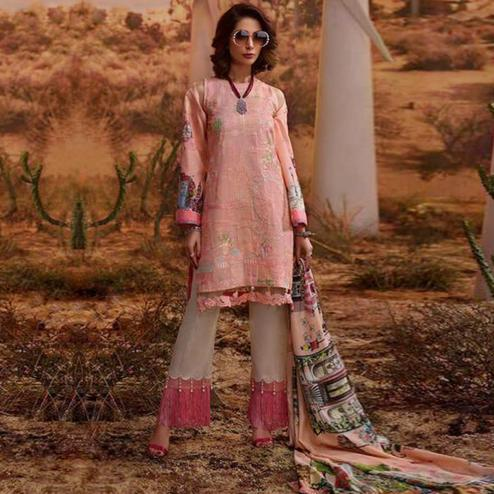Trendy Light Pink Colored Partywear Embroidered Cotton Suit