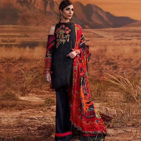 Elegant Black Colored Partywear Embroidered Cotton Palazzo Suit