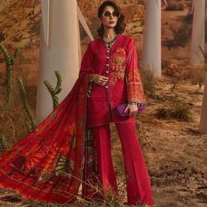 Radiant Pink Colored Partywear Embroidered Cotton Palazzo Suit