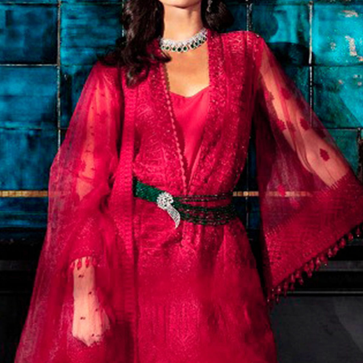 Opulent Red Colored Partywear Embroidered Netted Palazzo Suit