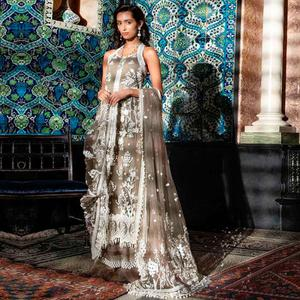 Energetic Brown Colored Partywear Embroidered Netted Palazzo Suit