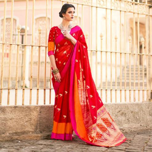 Blissful Red Colored Festive Wear Woven Soft Linen Saree