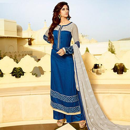 Deep Blue Party Wear Palazzo Suit