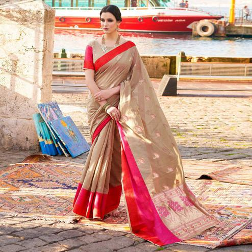 Imposing Beige Colored Festive Wear Woven Soft Linen Saree