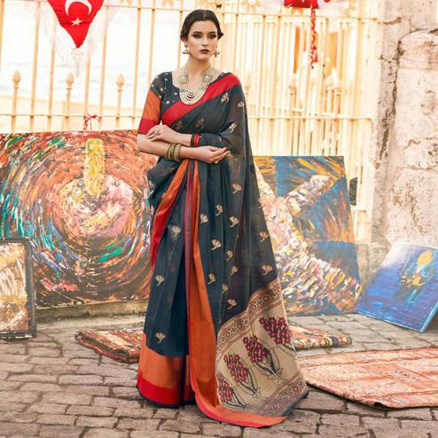 Magnetic Grey Colored Festive Wear Woven Soft Linen Saree