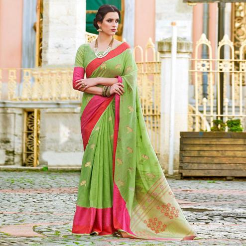 Hypnotic Pista Green Colored Festive Wear Woven Soft Linen Saree