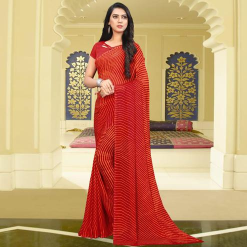 Impressive Red Colored Casual Leheriya Printed Chiffon Saree