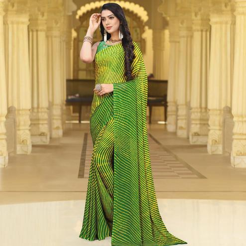 Excellent Green Colored Casual Leheriya Printed Chiffon Saree
