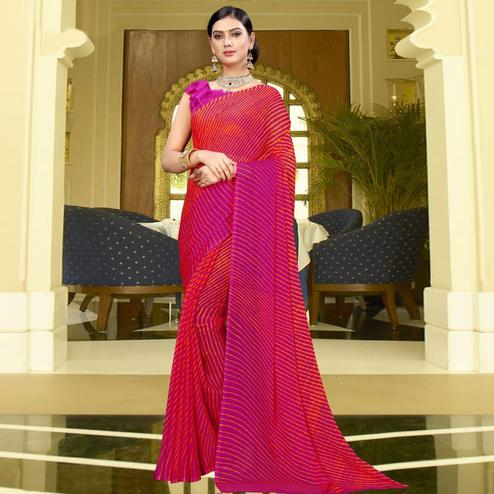 Preferable Pink Colored Casual Leheriya Printed Chiffon Saree