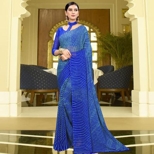 Mesmerising Blue Colored Casual Leheriya Printed Chiffon Saree