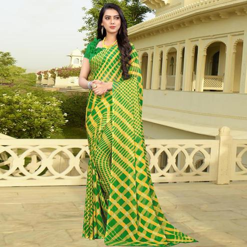 Pleasance Green Colored Casual Printed Chiffon Saree