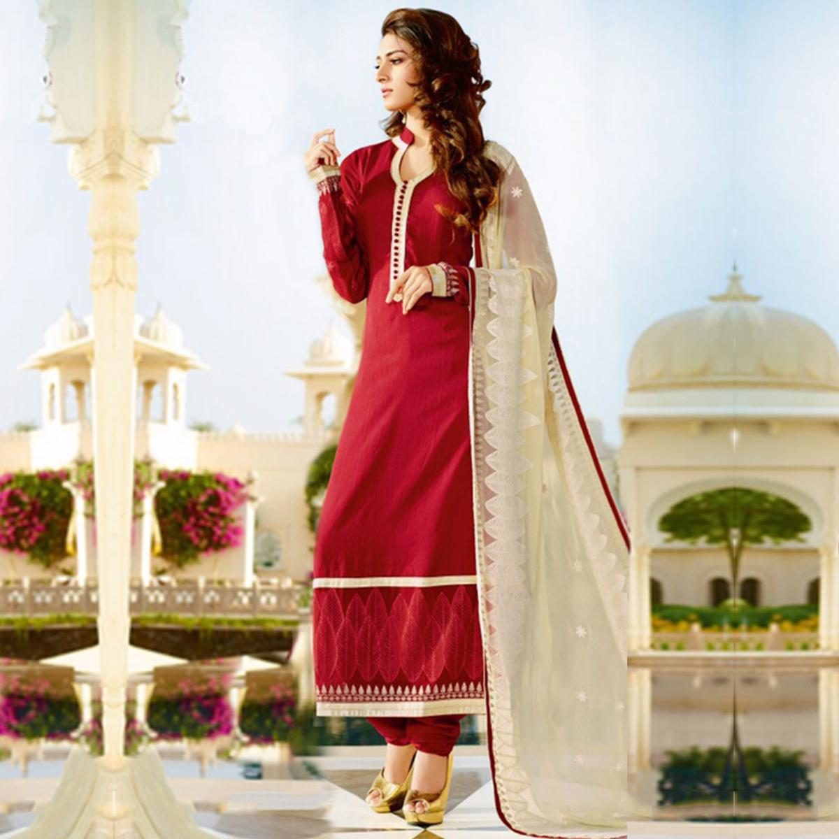 Red Ankle Length Straight Cut Suit