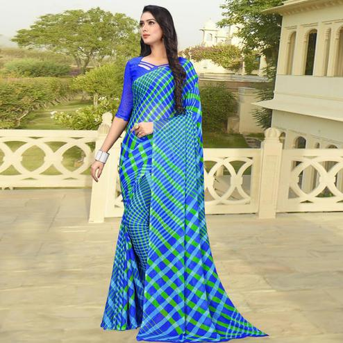 Flamboyant Blue Colored Casual Printed Chiffon Saree
