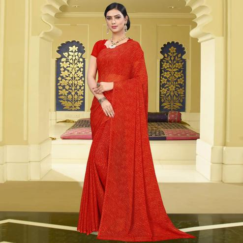 Ethnic Red Colored Casual Leheriya Printed Chiffon Saree