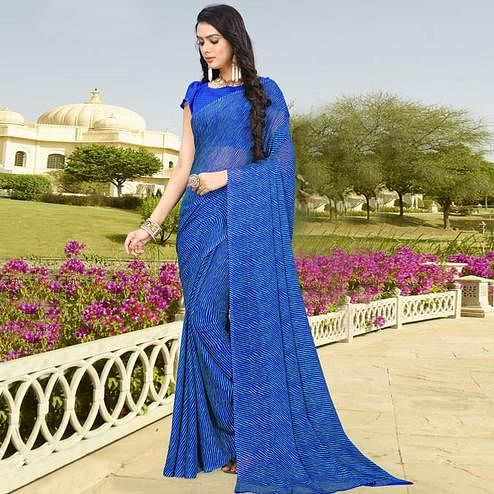Alluring Blue Colored Casual Leheriya Printed Chiffon Saree