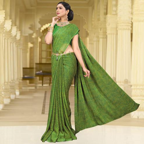 Staring Green Colored Casual Leheriya Printed Chiffon Saree