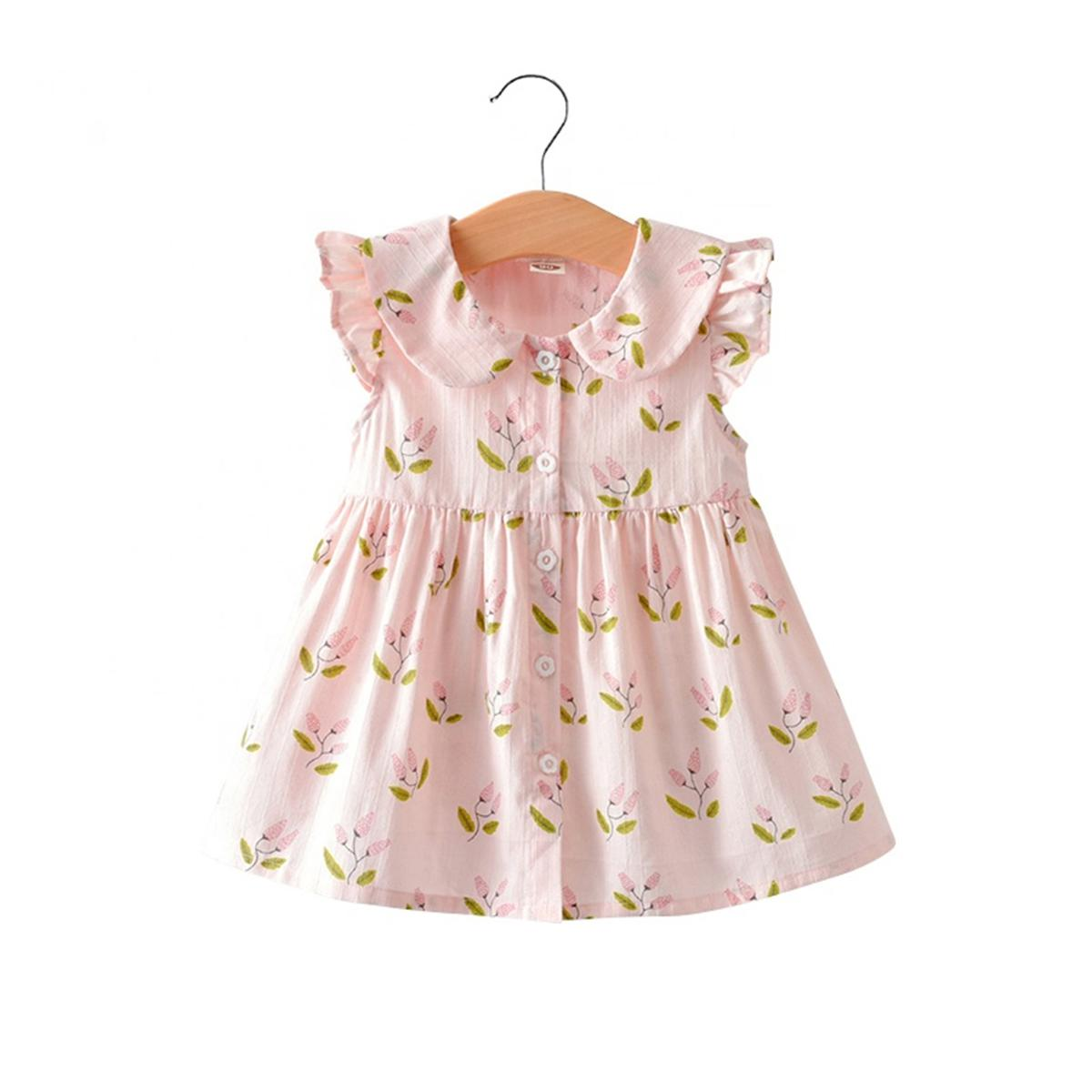 Pink Colored Floral Printed Ruffled Sleeve With Peter Pan Collar Cotton Dress For Girl's
