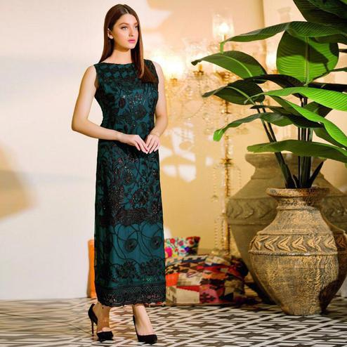 Prominent Teal Green Colored Party Wear Embroidered Net Pant Style Suit