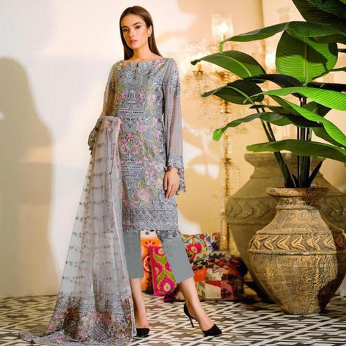 Classy Grey Colored Party Wear Embroidered Georgette Pant Style Suit